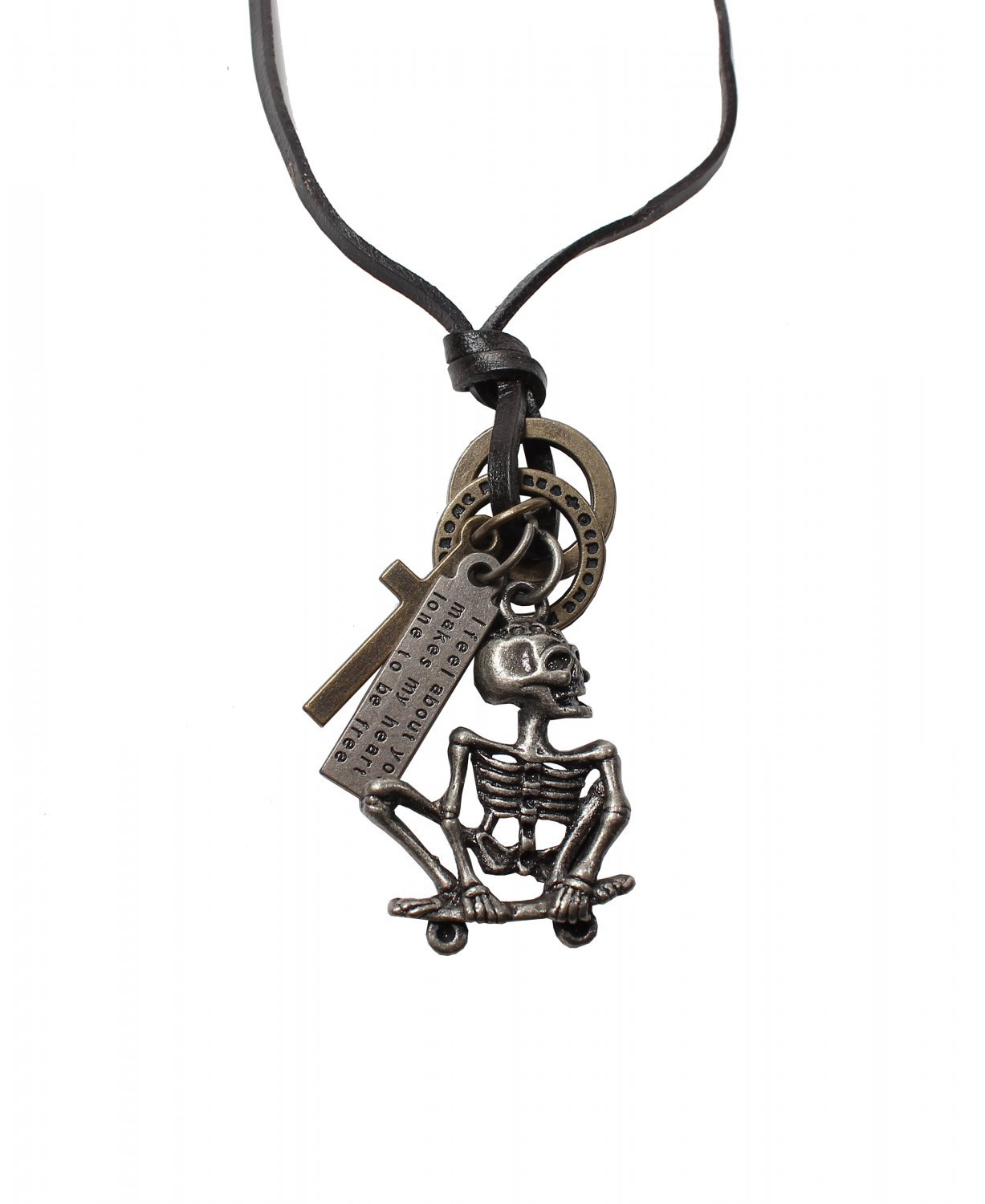 Skull Bone Pendant with Cross and Circle Rings Necklace (N667S)