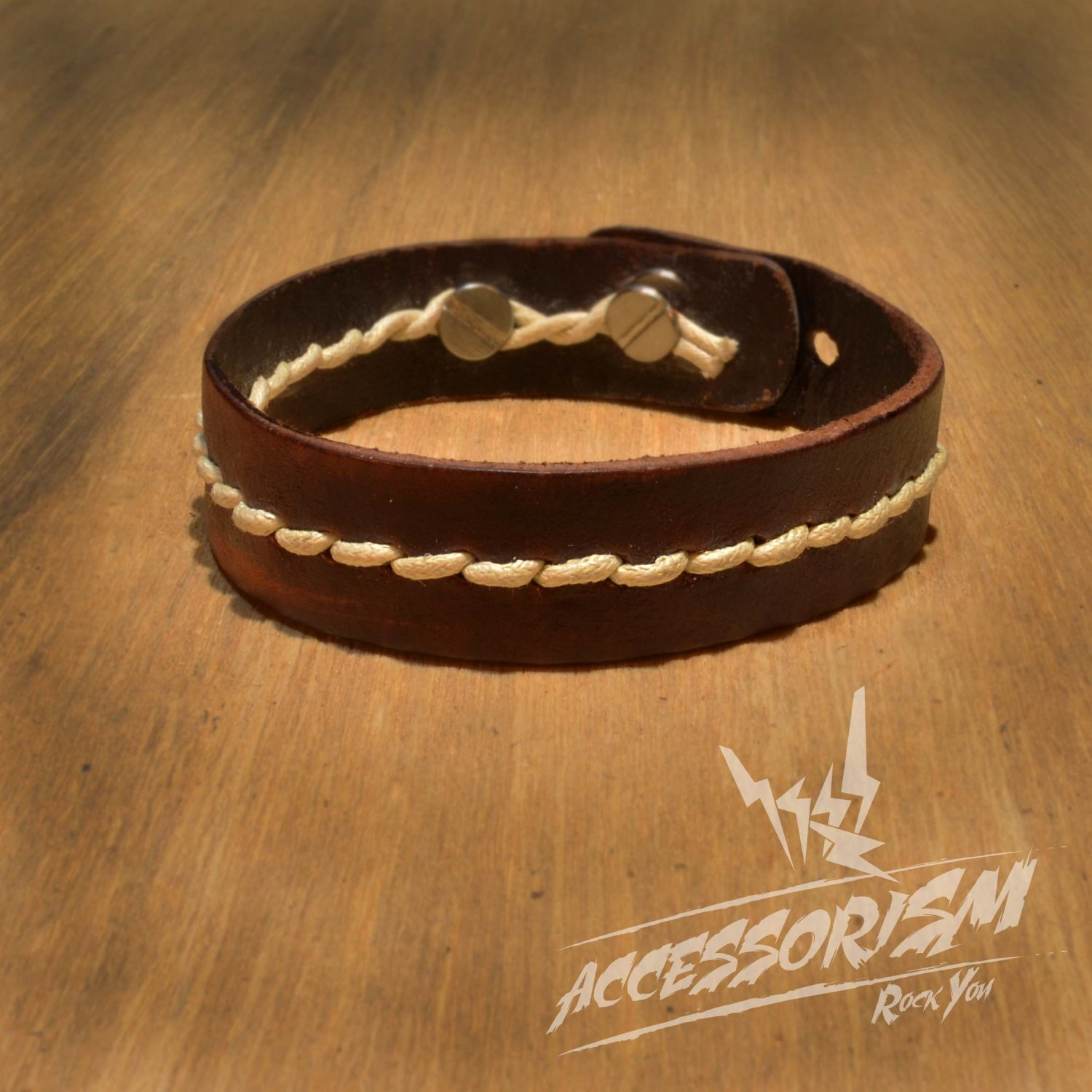 Brown Leather with White String Cuff Bracelet (B639S)