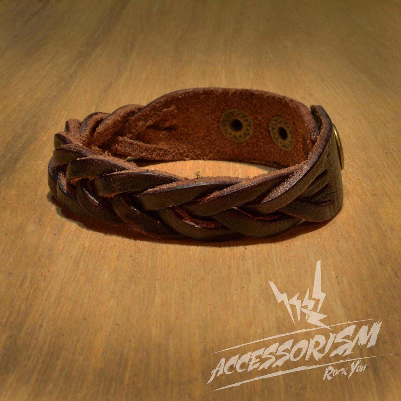 Brown Leather Stripe Cuff Bracelet (B637S)
