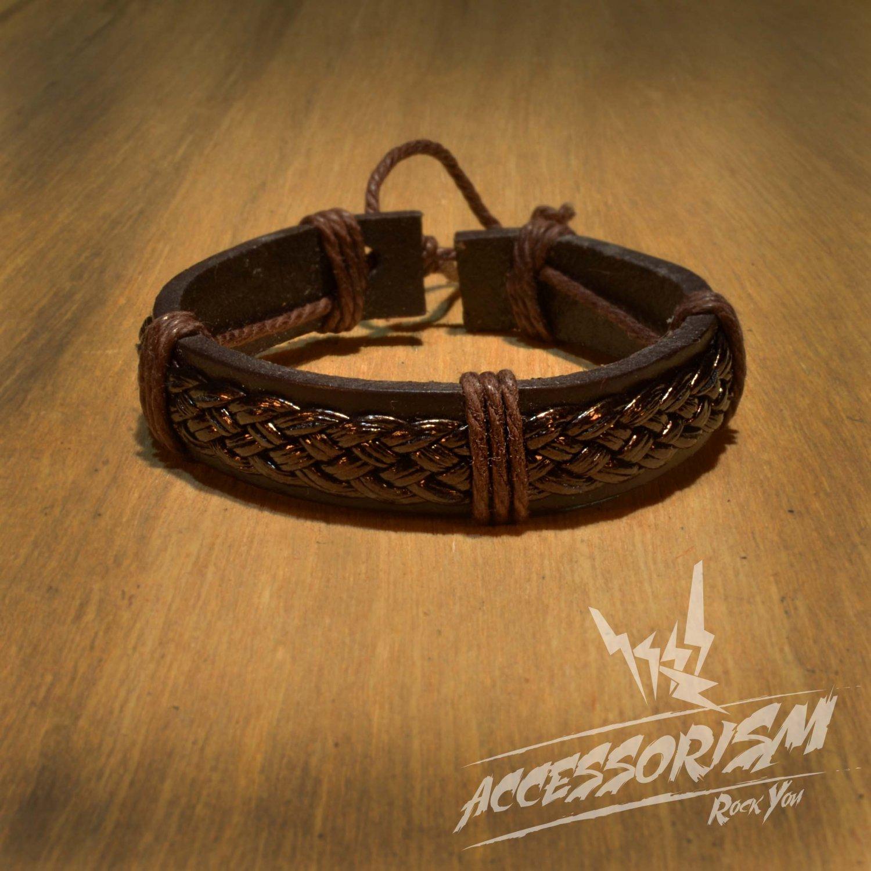 Multi Brown Leather Stripe Bracelet (B634S)