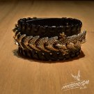 Free Shipping Black Leather Dragon Stud Cuff Bracelet Wrist (B639RB)