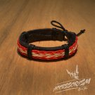 Free Shipping Red and White String Stripe Leather Bracelet (B633S)