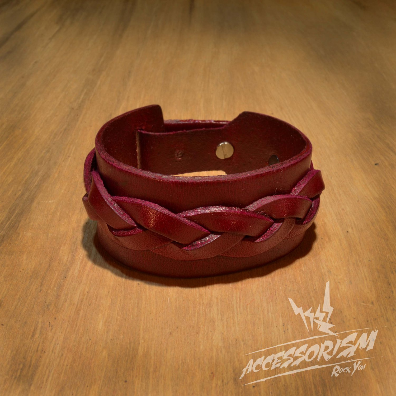 Free Shipping Maroon Leather Cuff Bracelet (B629S)