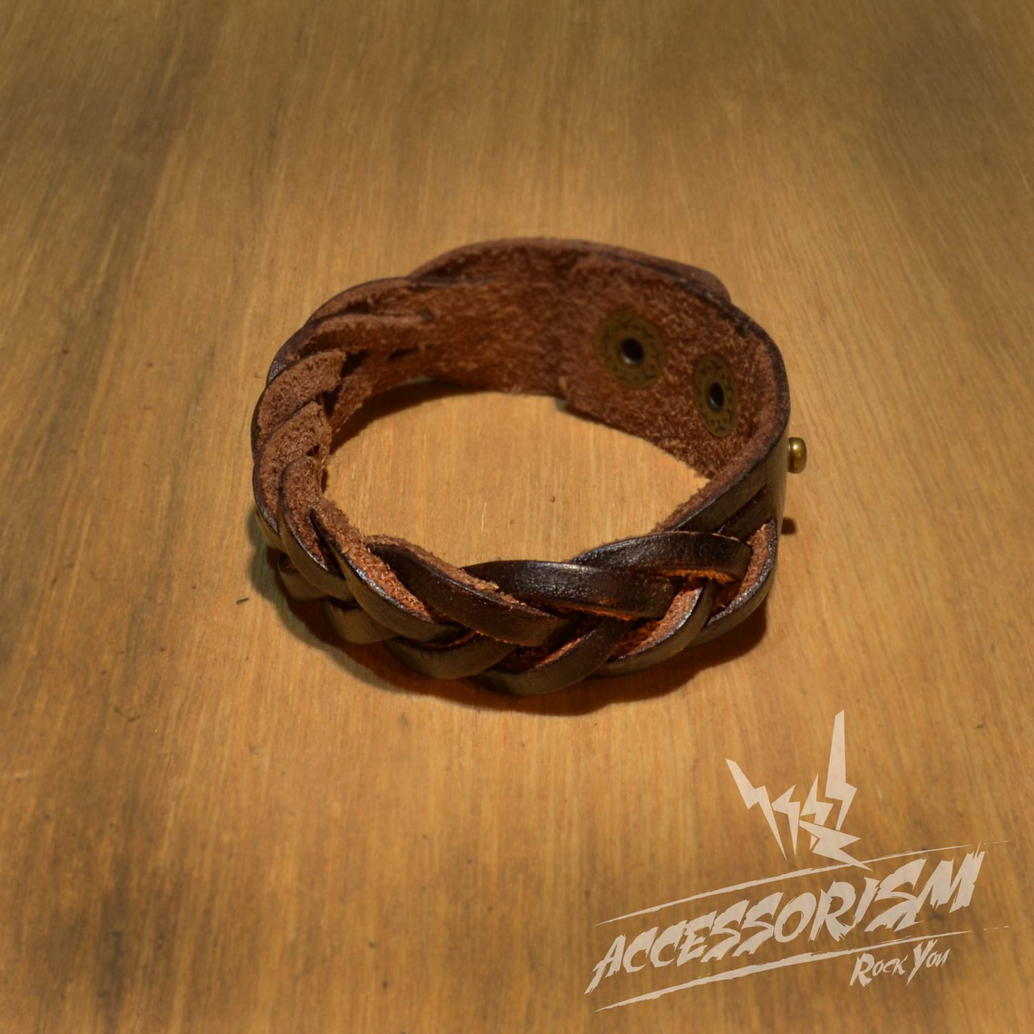 Free Shipping Brown Leather Stripe Cuff Bracelet (B637S)