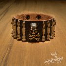 Free Shipping Skull & Bullet Rock Black Leather Wristband Bracelet (B645R)