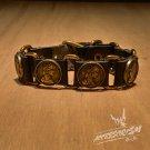 "Free Shipping Multi ""Coins"" Black leather Bracelet (B649R)"
