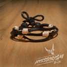 Free Shipping Black Leather with White String Bracelet (B660S)