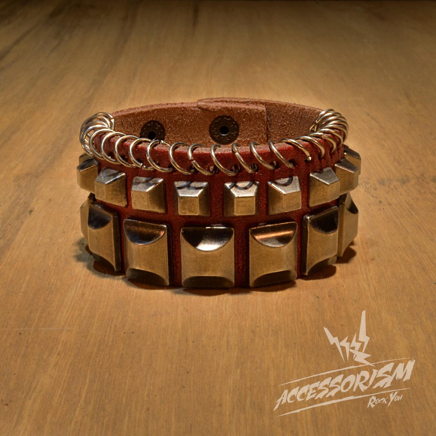 Free Shipping Multi Metal Square & Rings Red Leather Cuff Wristband Bracelet Rock Punk (B651RR)
