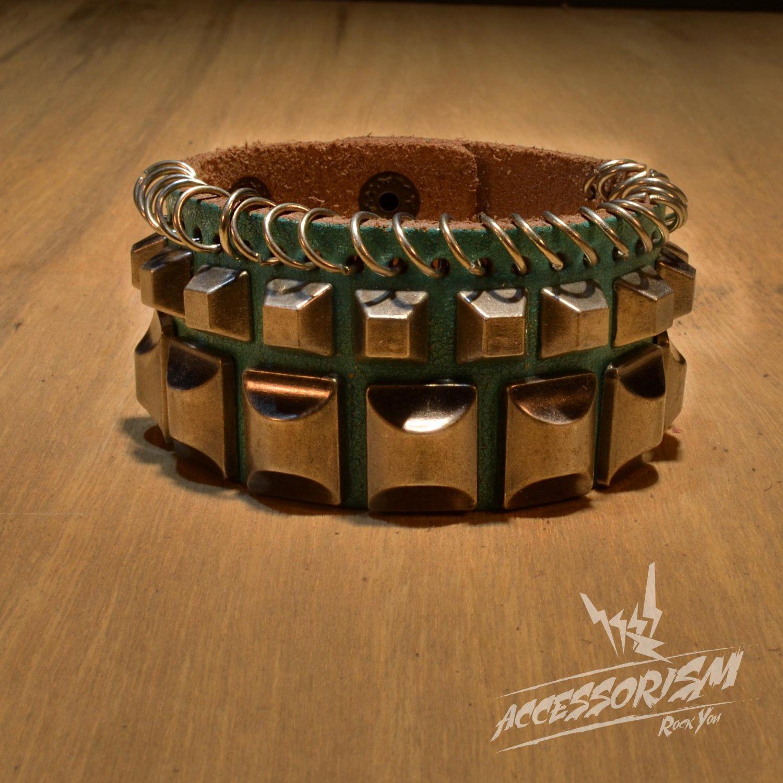 Free Shipping Multi Metal Square & Rings Ligh Blue Leather Cuff Wristband Bracelet Rock Punk B651RB