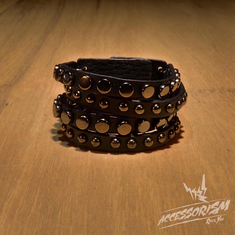 Free Shipping Multi Line Metal Circle Black Leather Bracelet (B658R)