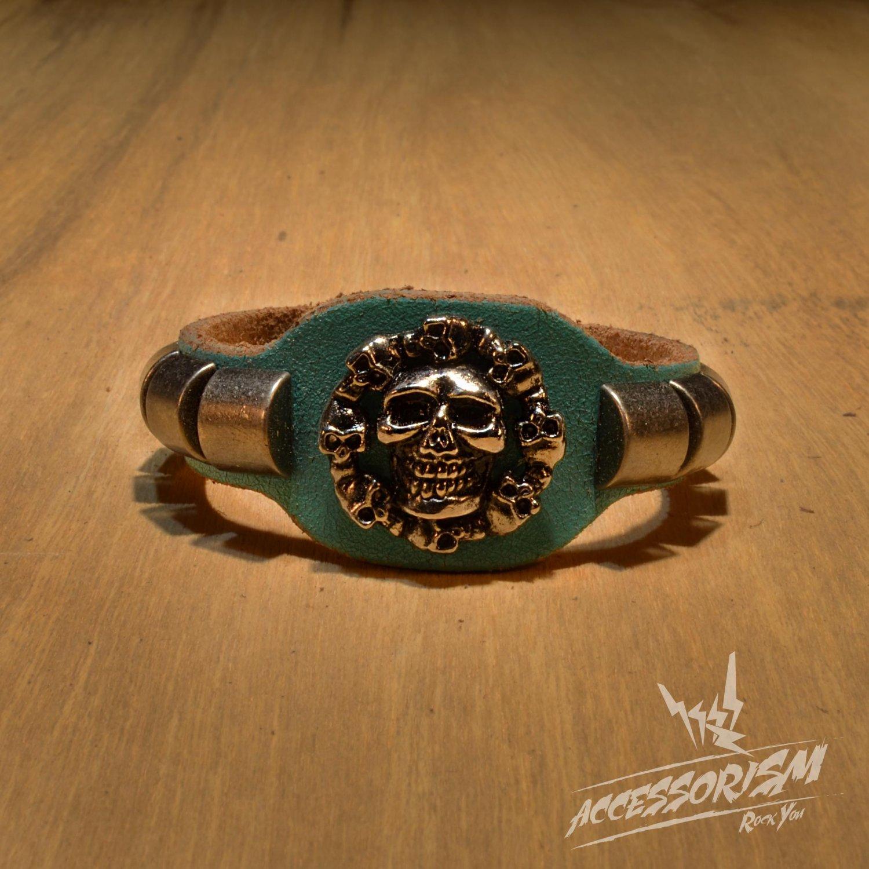 Free Shipping Multi Skull Blue Leather Bracelet (B660RB)
