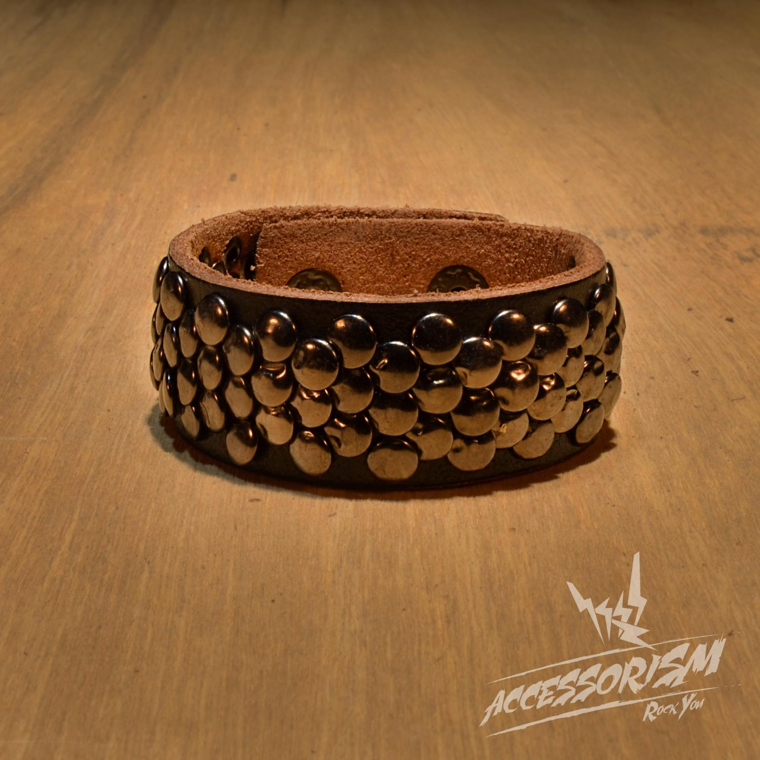 Free Shipping Multi Small Circle Steel with Brown Leather Cuff Wristband Bracelet Rock Punk (B667R)