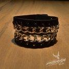Free Shipping Gothic Punk Leather Stud Wristband Cuff (B668R)
