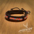 Free Shipping Dark Brown Leather with Light Blue Orange Pink String Bracelet (B665S)