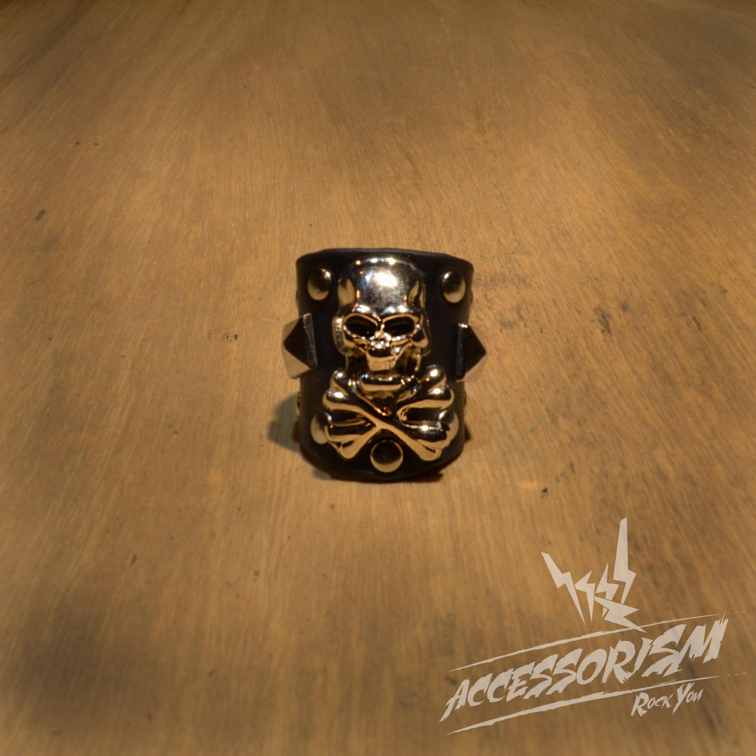 Free Shipping Steel Skull with Black Leather Ring Rock Punk (R613R)
