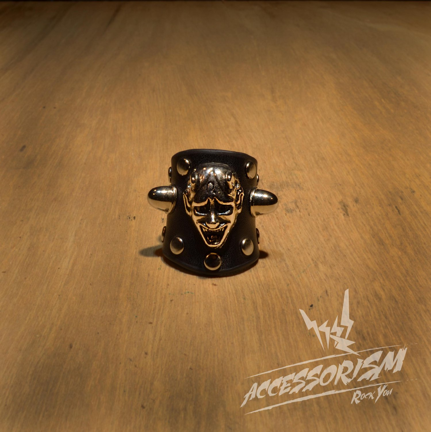 Free Shipping Steel Devil with Black Leather Ring Rock Punk (R616R)