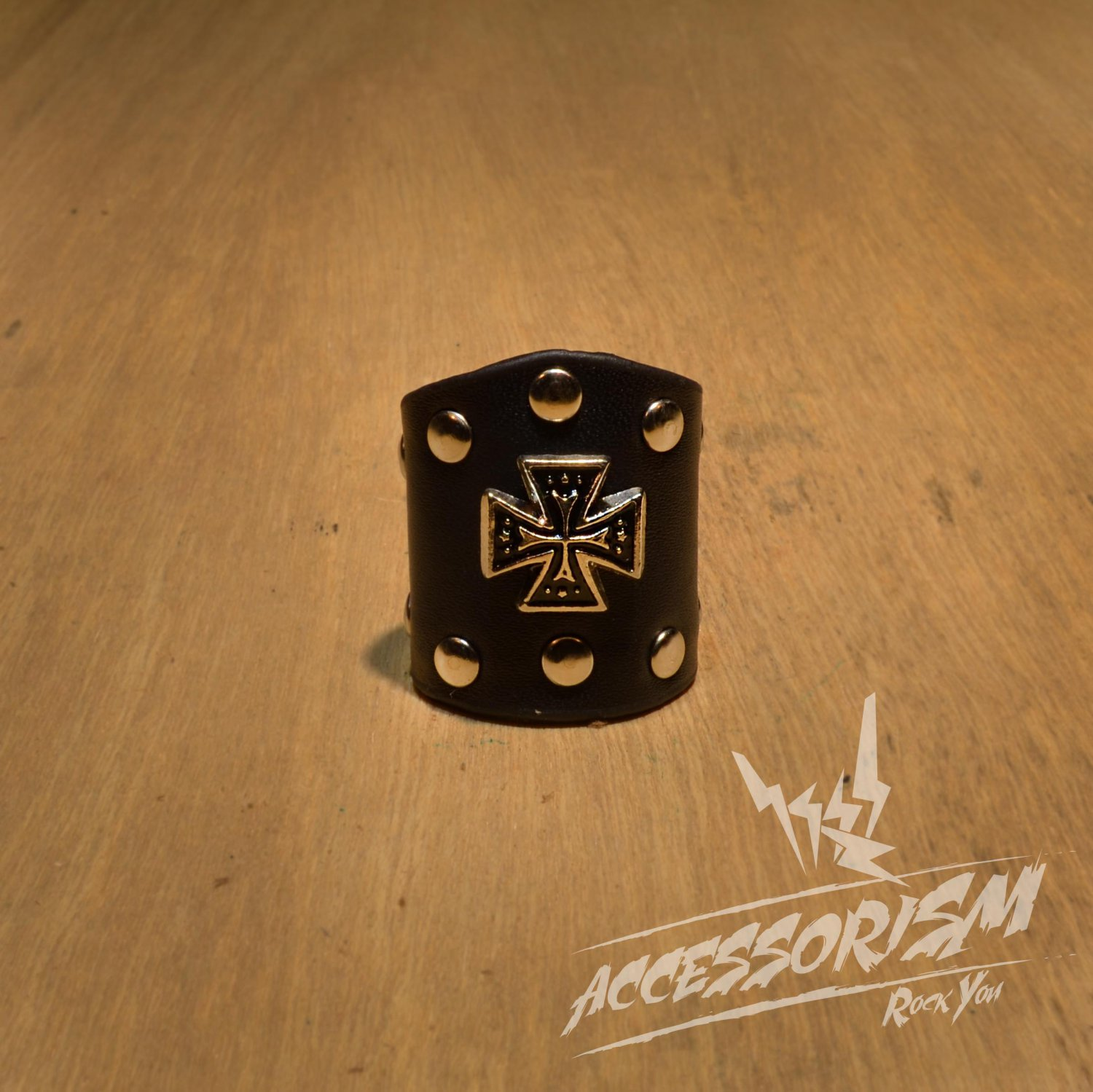 Free Shipping Steel Cross with Black Leather Ring Rock Punk (R619R)