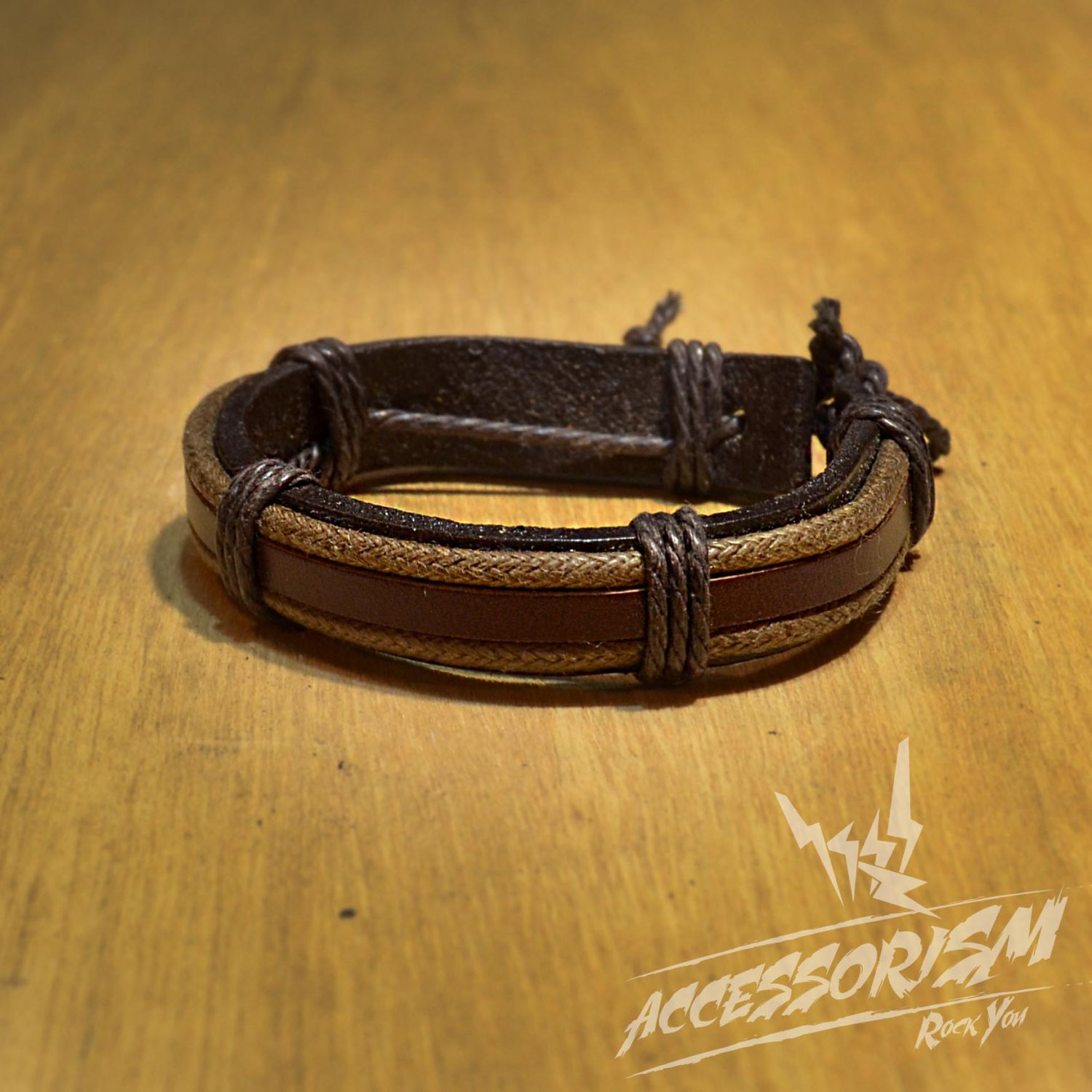Free Shipping Thick Dark Brown leather with Light Brown Leather Stripe Beside Bracelet (B625S)