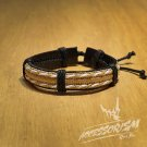 Free Shipping White and Light Brown Strings with Leather Bracelet (B627S)