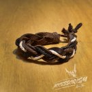Free Shipping White Brown String with Synthetic Leather Bracelet (B644S)