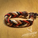 Free Shipping Red White Dark & Light Brown Leather Bracelet (B664S)