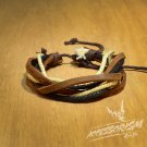 Free Shipping White with Dark & Light Brown Leather Bracelet (B658S)