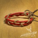 Free Shipping Red Leather with Light Brown String Bracelet (B659S)