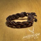 Free Shipping Black Leather with Brown String Bracelet (B663S)