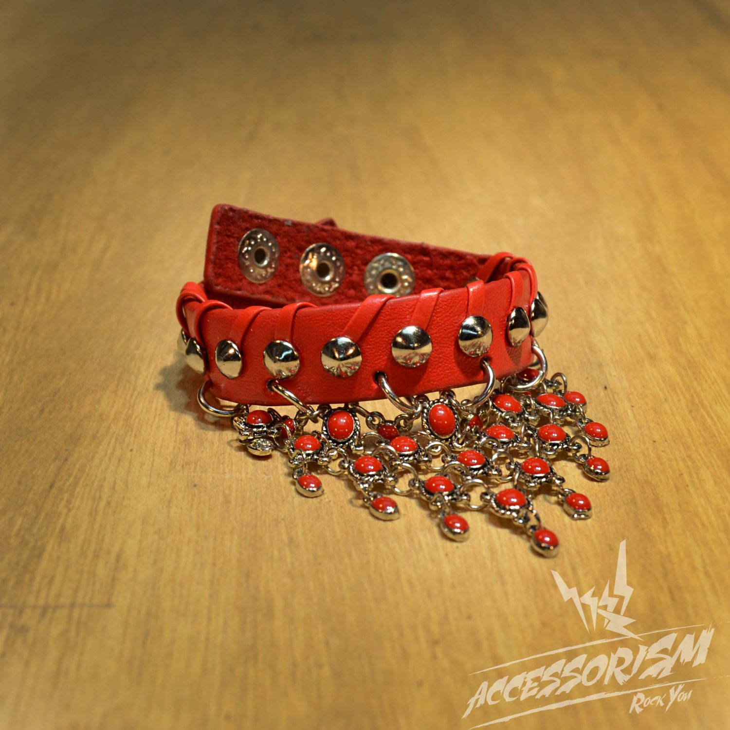 Free Shipping Red Gothic Spike Stud Leather Wristband Bracelet Punk (B629R)