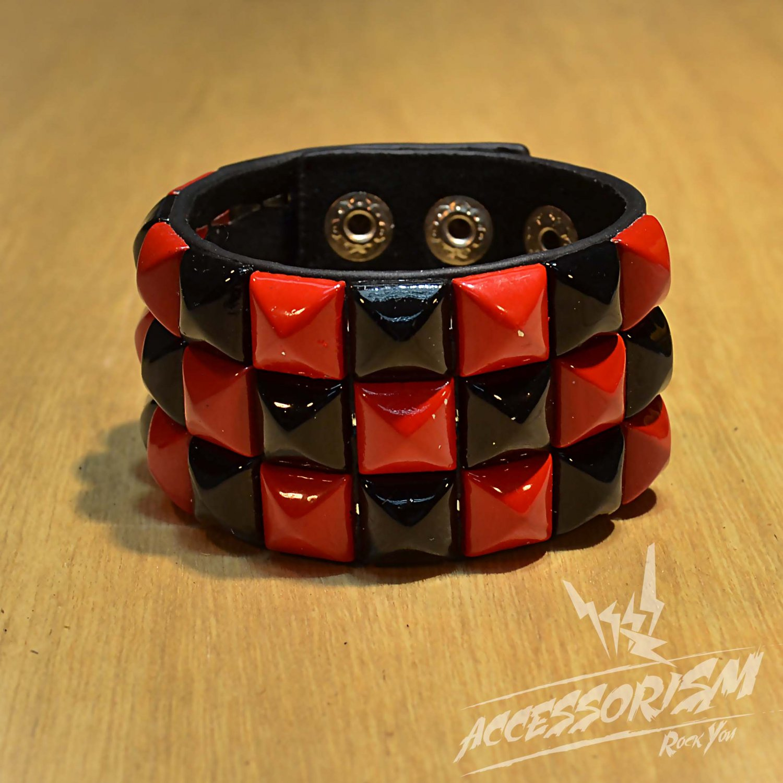 Free Shipping Red & Black Square Black Leather Punk Bracelet Wristband (B652R)