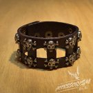 Free Shipping Multi Skull Brown Leather bracelet (B657RN)