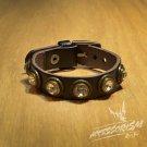 Free Shipping Multi Shine Circle Black Leather Bracelet (B664R)