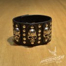 Free Shipping 3 Skull Black Leather Cuff Wristband Bracelet Rock Punk (B669R)