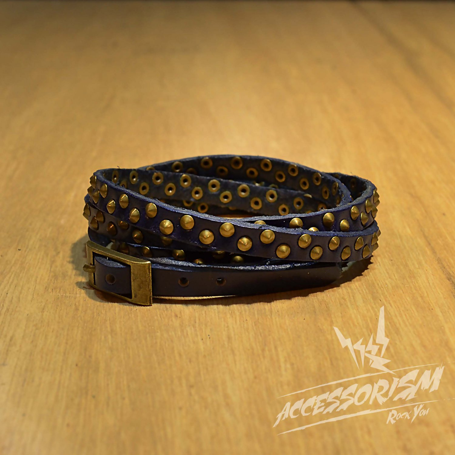 Free Shipping Multi Gold Steel Circle With Blue Leather Bracelet (B671RB)