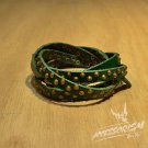 Free Shipping Multi Gold Steel Circle With Green Leather Bracelet (B671RG)