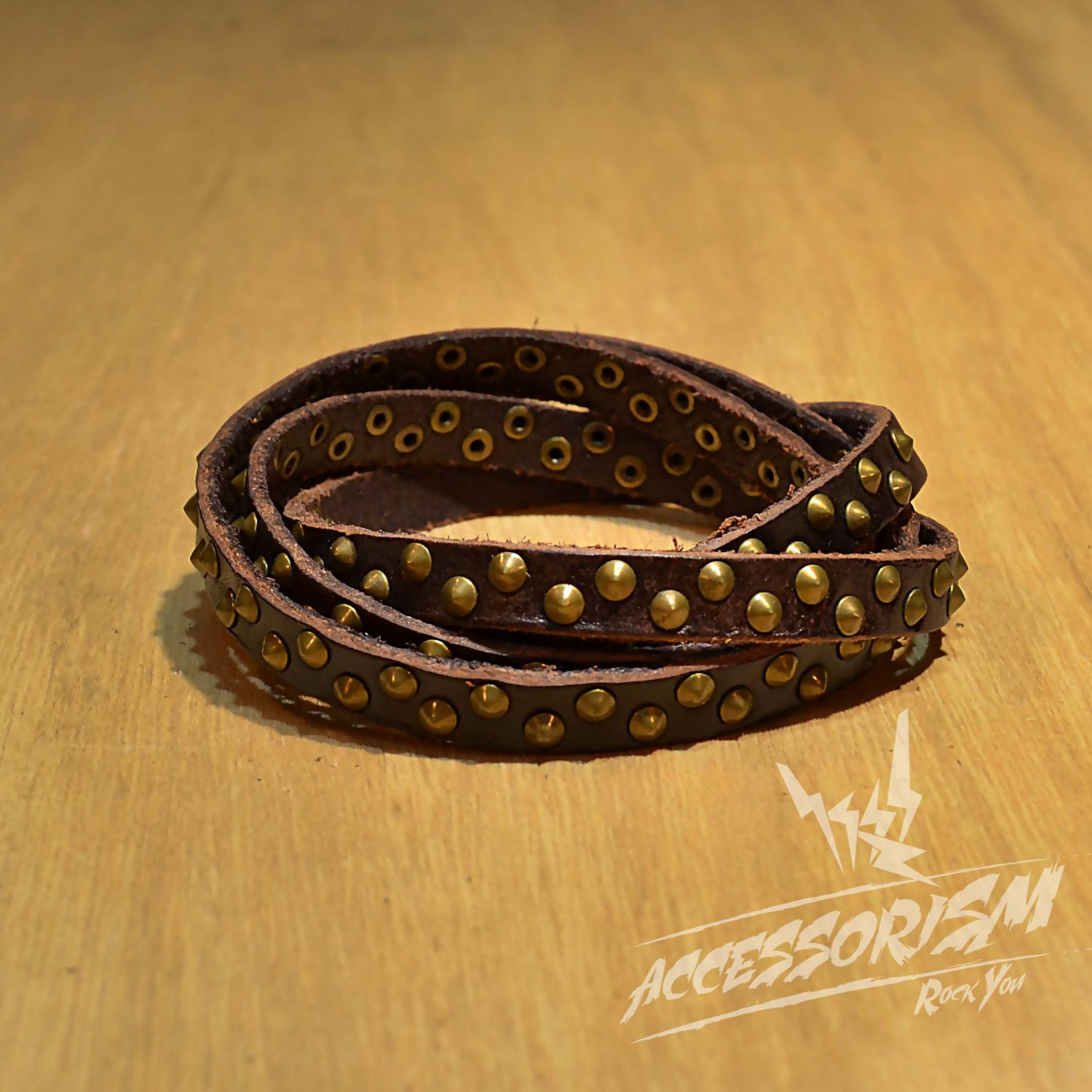 Free Shipping Multi Gold Steel Circle With Brown Leather Bracelet (B671RN)
