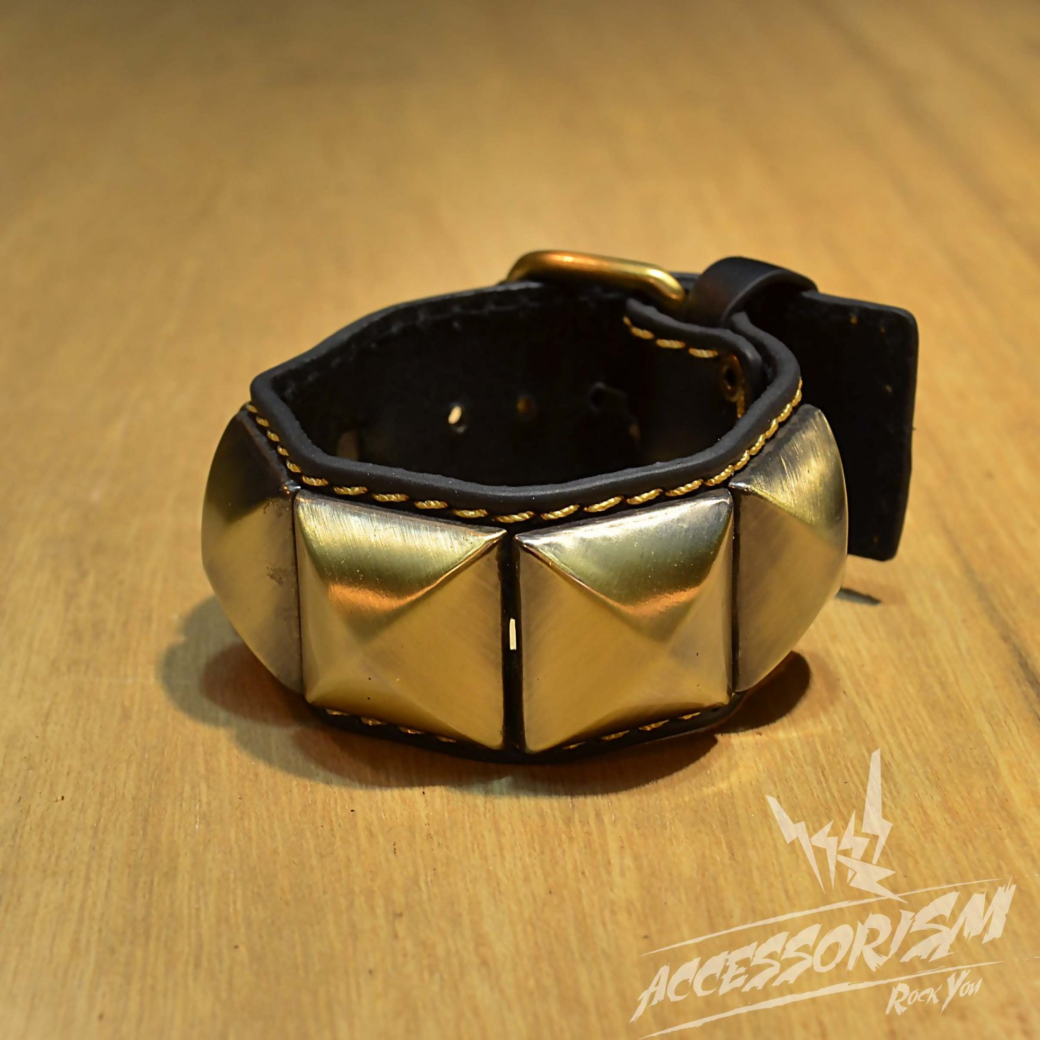 Free Shipping Multi Golden Square with Black Leather Bracelet (B672R)