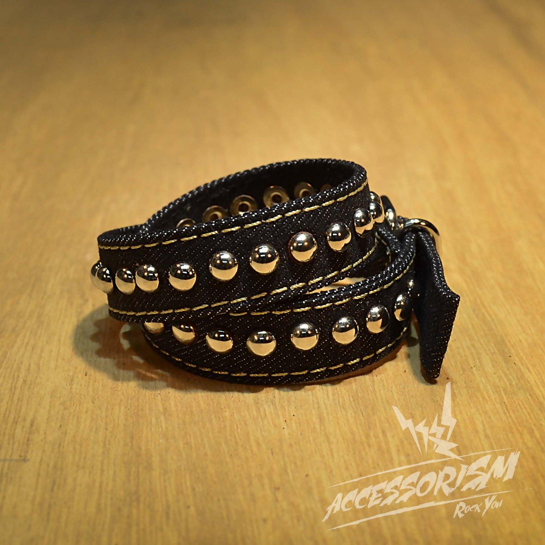 Free Shipping Multi Steel Circle Bracelet Stud Wristband Cuff (Black) (B675R)