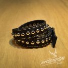 Free Shipping Multi Steel Circle Bracelet Stud Wristband Cuff (Black) (B675R)