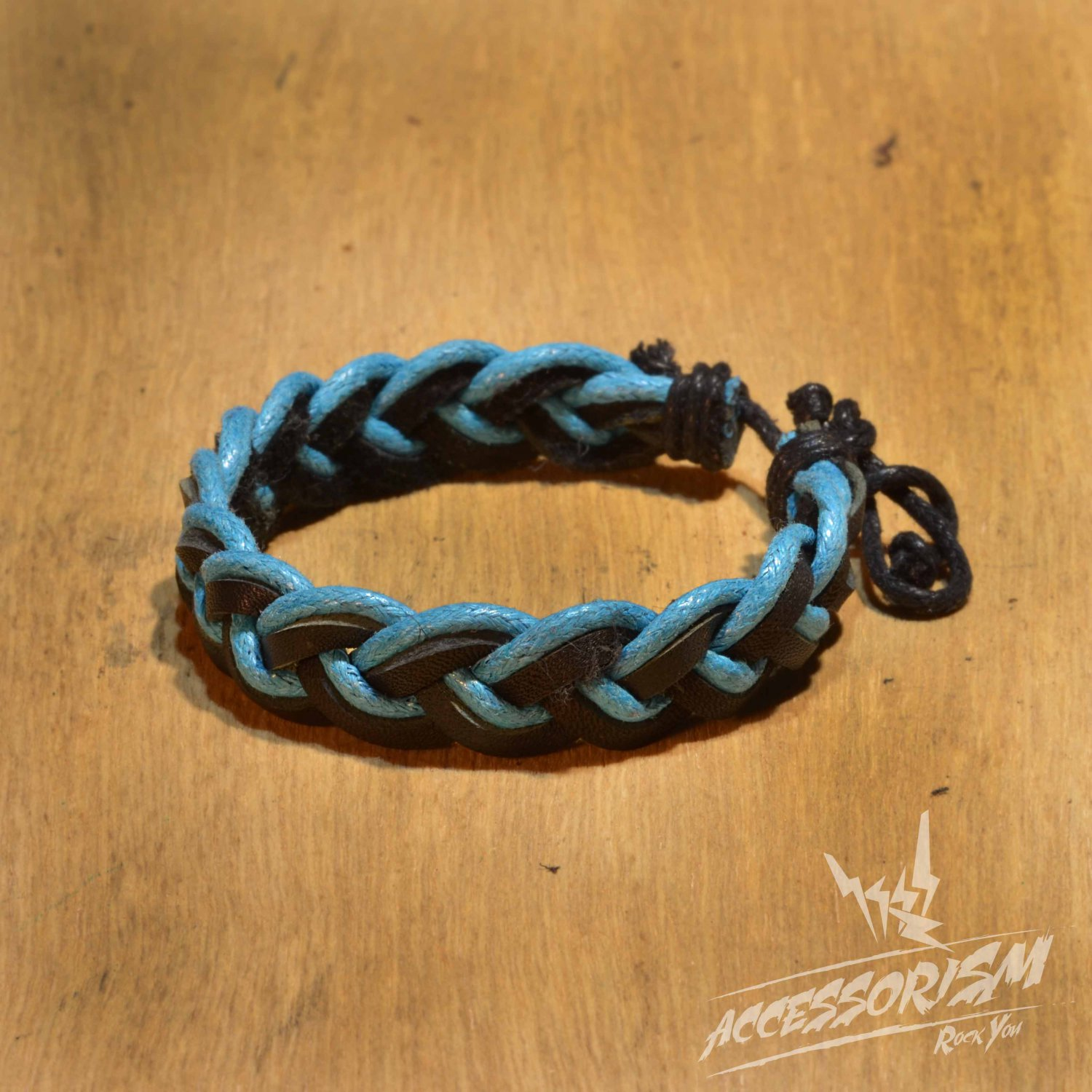 Free Shipping Blue String & Black Leather String Bracelet (B694S)