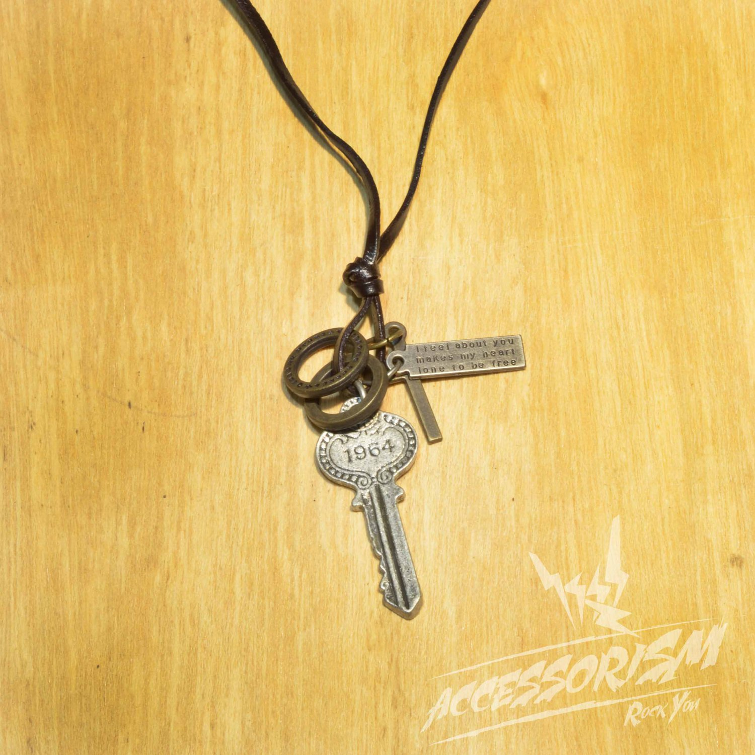 Free Shipping Key Pendant with Cross and Circle Rings Necklace (N639S)