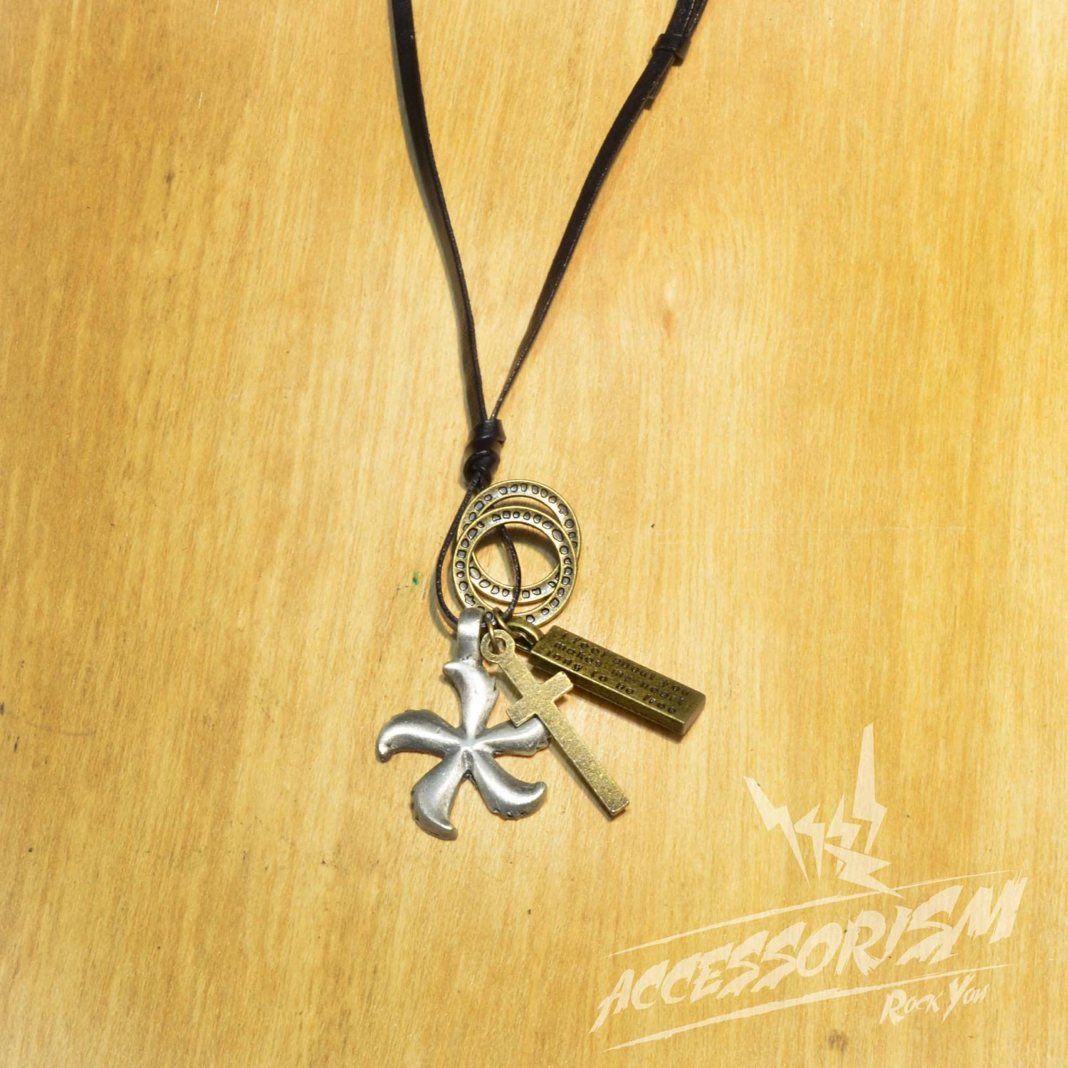 Free Shipping Flower Pendant with Cross ad Circle Rings Necklace (N658S)