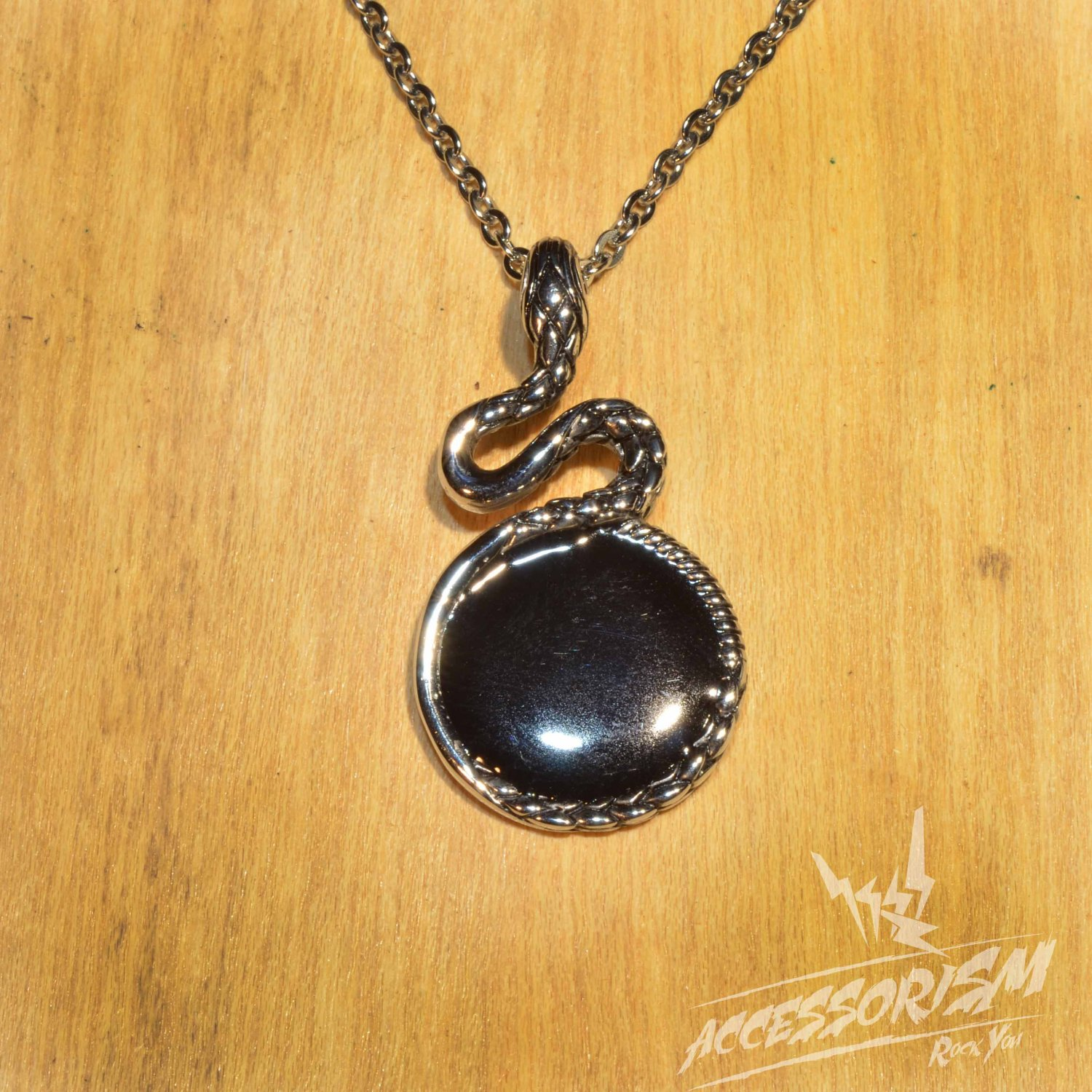 Free Shipping Steel Snake with Black Mirror Pendant Necklace (N659S)