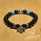 Free Shipping Black and Blue Bracelet with Gothic Cross Deco (B710S)