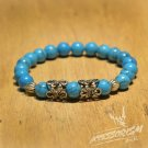 Free Shipping Blue Beads Bracelet with Steel Deco (B711S)
