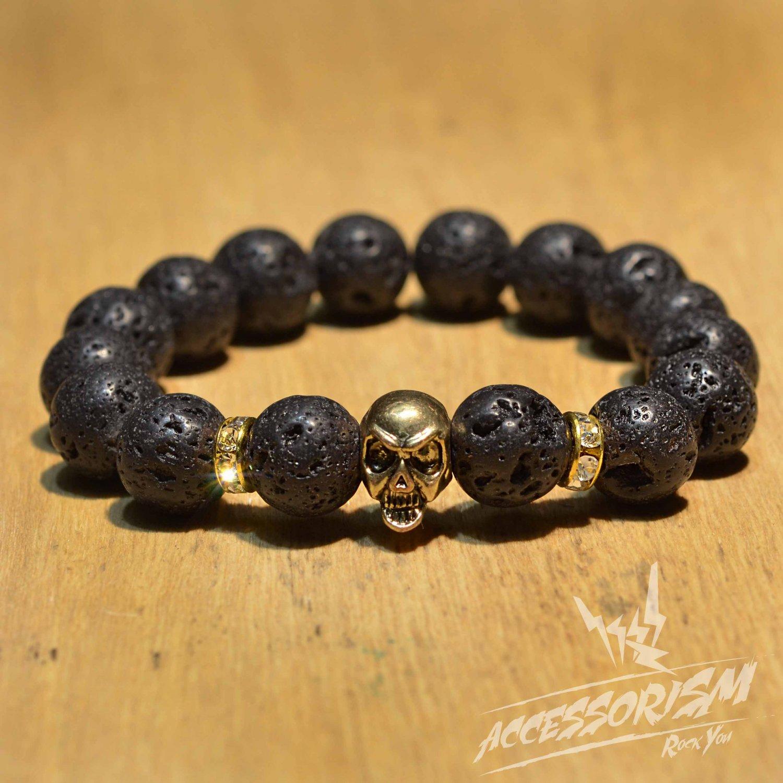 Free Shipping Dark Grey Stone with Gold Skull Deco (B712S)