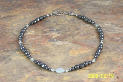 Necklace of Magnetized Hematite with Peking Onyx and Amazonite