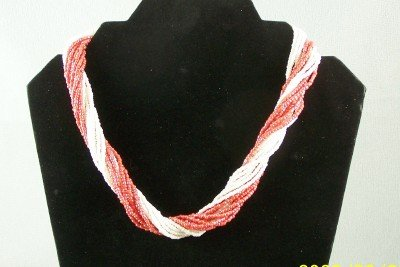 Twisted multi-strand salmon and white necklace