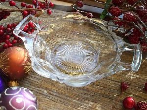 EAPG~U.S. Glass~EVANGELINE~2 Handle Sauce Bowl