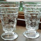 Set of 2 EAPG Dalzell Gilmore Leighton HEXAGONAL BULLS-EYE Footed Goblets